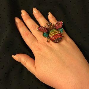 Jewelry - Rainbow rhinestone bee statement ring